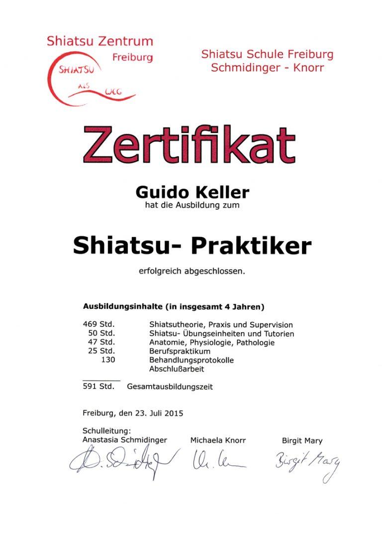 """Zertifikat """"Shiatsu-Praktiker"""""""